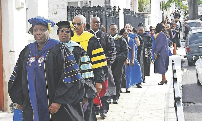 MEMBERS of the academic community and government officials attended a service of thanksgiving at Christ Church Cathedral yesterday to start the week of charter events for the establishment of the University of the Bahamas. Photo: Tim Clarke