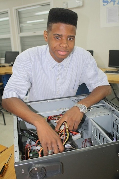 Dion Mackey, an Information Technology major at the Bahamas Technical and Vocational Institute