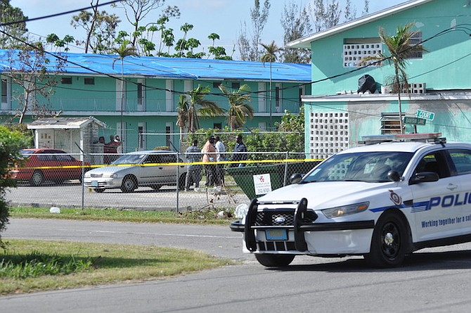 Police on the scene on Sunday morning in Freeport, where a man was found dead in a car. Photo: Vandyke Hepburn/BIS
