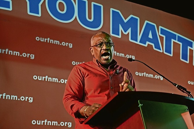 Dr Hubert Minnis speaks at the FNM rally.
