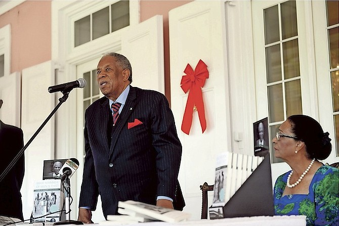 Sir Orville Turnquest, former Governor General of The Bahamas, at the launch of his book, pictured below,  at Government House. Photo: Shawn Hanna/Tribune Staff