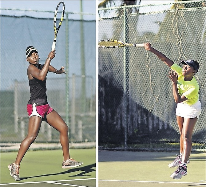 TITLE MATCH: Iesha Shepherd (left) and Sydney Clarke in action yesterday. Photos: Shawn Hanna/The Tribune