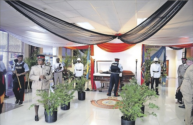The viewing for the late retired Deputy Superintendent of Police Errington 'Bumpy' Watkins at the Paul Farquharson Conference Centre, Police Headquarters. Photo: Shawn Hanna/Tribune Staff