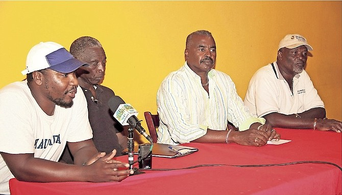 "REGATTA TIME AGAIN: Shown (l-r) are Stepheno Kemp, Delworth Gibson, Eric Gibson, the regatta chairman, and Stafford Ambrister at a press conference to announce the 3rd annual ""King"" Eric Gibson Regatta."