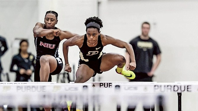 Devynne Charlton, of the Purdue University Boilermakers, competes indoors in the 60m hurdles over the weekend in West Lafayette.