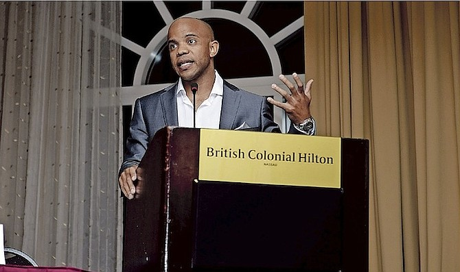 ANTOAN RICHARDSON speaks at his 'Career Paths to Athletic Success forum at the British Colonial Hilton.   Photo by Shawn Hanna/Tribune Staff