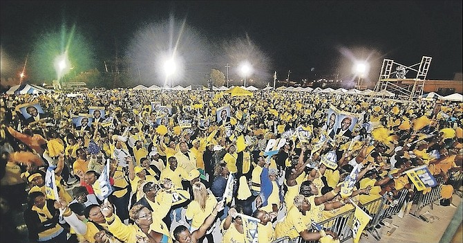A crowd at a PLP rally during the 2012 election campaign.