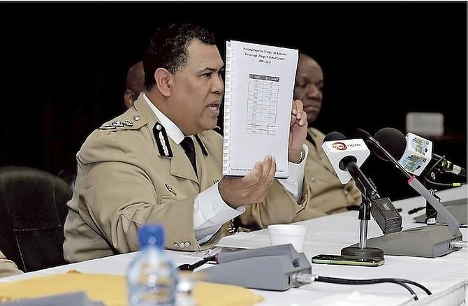 Commissioner Ellison Greenslade with the annual crime report. Photo: Terrel W. Carey/Tribune Staff