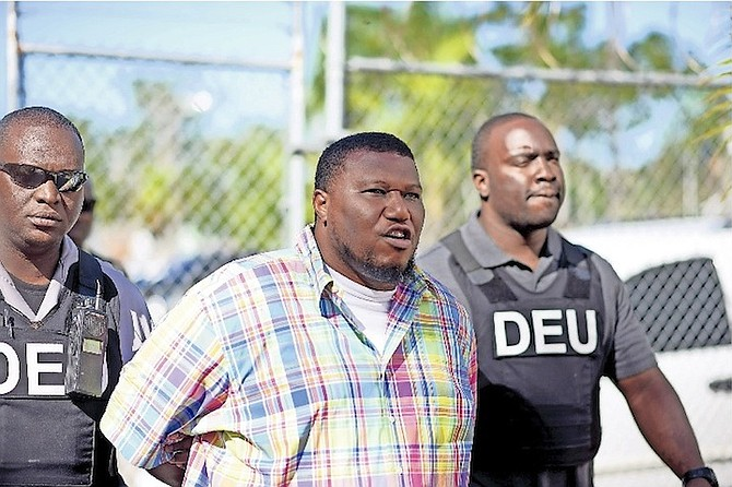 Desno Scott, 43, outside Magistrates Court where he faced charges in connection with a recent cocaine seizure.  Photo: Shawn Hanna/Tribune Staff