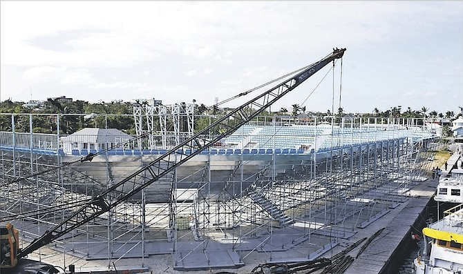 A VIEW of the rising structure of the new beach soccer stadium at Malcolm Park West. 