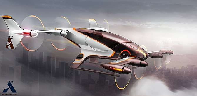 This artist rendering by Airbus shows a vehicle in their flying car project, Vahana. (AP)