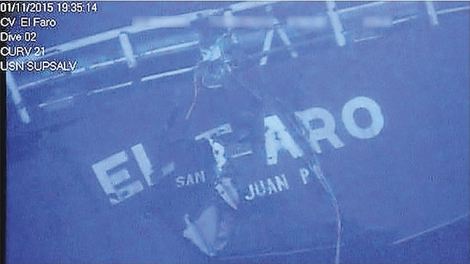 "The stern of the sunken ship El Faro. The former chief engineer of the container ship that sank in a hurricane killing 33 sailors said yesterday that evidence from the ship's ""black box"" shows a crew working hard to keep it afloat."