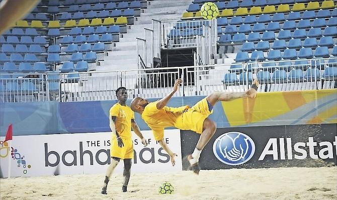 GO TEAM BAHAMAS: Bahamian players in training yesterday at the new Malcolm Park beach soccer stadium on East Bay Street.                                                                                                                                                                                                    Photos: Shawn Hanna/Tribune Staff