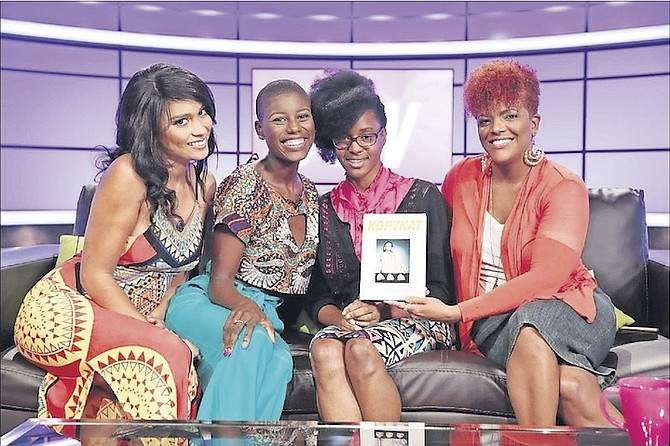 """Paquell Butterfield (second from right) promotes her book, """"KopyKat: Take Time to Find Yourself"""", on the TV show The Stew."""