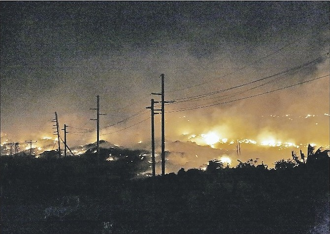 The Ongoing fire in the areas of Gladstone Road and the landfill last night. 