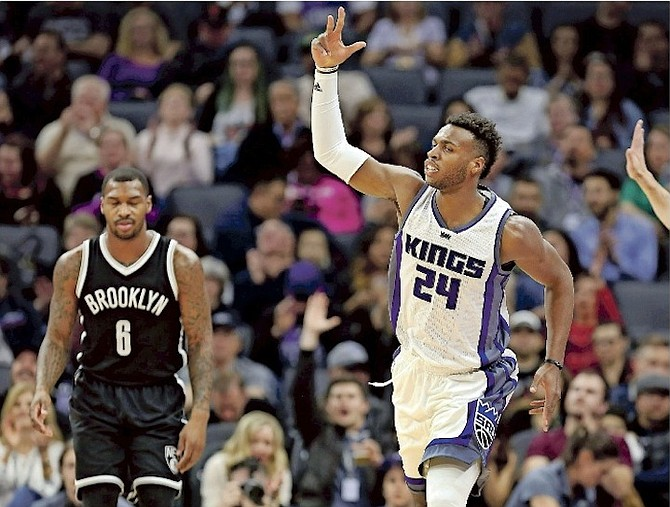 BAHAMIAN ROOKIE GUARD Buddy Hield has had a productive stretch so far for the Sacramento Kings and has risen to No.5 on the NBA Rookie Ladder. (AP)