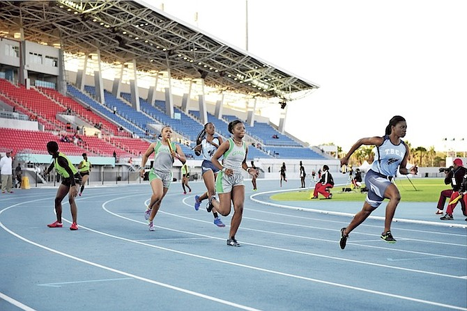 YOUNG athletes take part in the BAAAs test event for the 3rd IAAF World Relays Bahamas - the event is set to be held April 22-23 at Thomas A Robinson National Stadium.