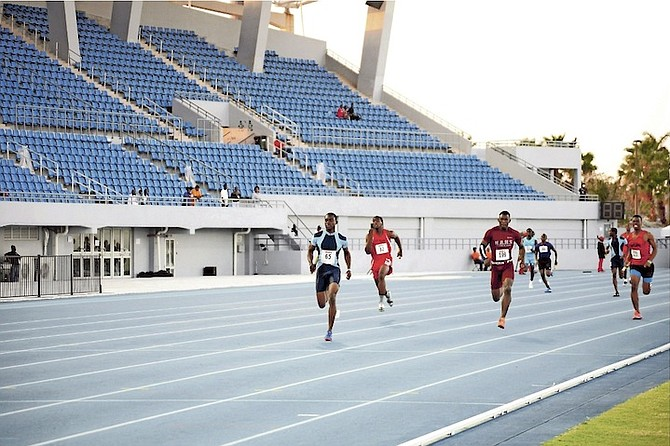 STUDENTS compete in 28th Annual National High School Track & Field Championships at Thomas A Robinson National Stadium.                                                                                