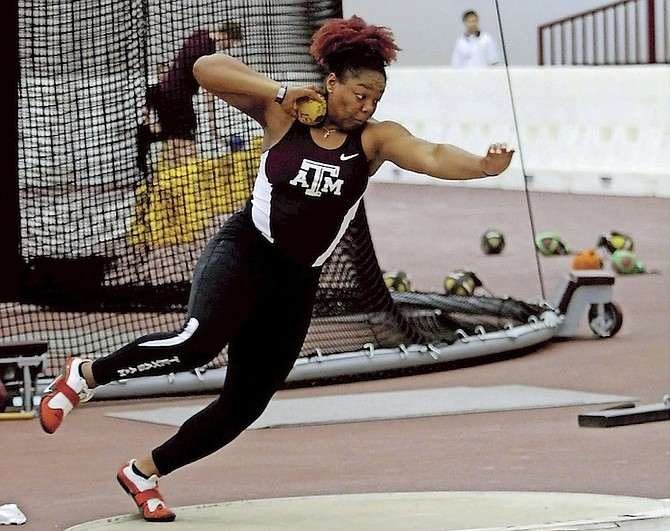 SERENA BROWN (throwing the shot put) shattered her national record in the discus at the Roadrunner Invitational on Saturday.