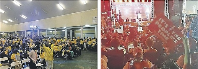 The scene last night as both the PLP, left, and the FNM held events as the countdown to the election continues.
