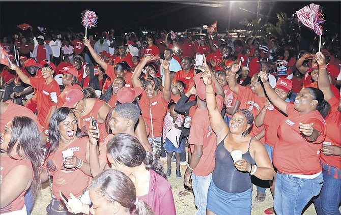 The crowd at the FNM rally in Andros last night. Photo: Yontalay Bowe/FNM