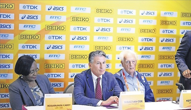 SHOWN (l-r) are Local Organising Committee CEO Rosamunde Carey, president of the BAAA, IAAF President Lord Sebastian Coe and LOC Chairman Keith Parker yesterday at IAAF World Relays press conference at British Colonial Hilton.  Photo: Shawn Hanna/Tribune Staff