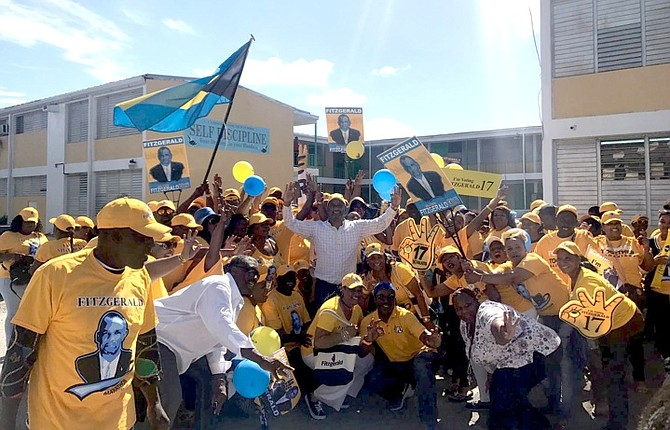 PLP Marathon MP Jerome Fitzgerald with supporters on Nomination Day.