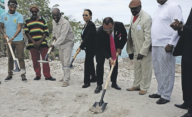 The groundbreaking of Blue Hole Marina Village and Andros Island Fuels in Fresh Creek Andros, yesterday. Photo: Terrel W. Carey/Tribune Staff