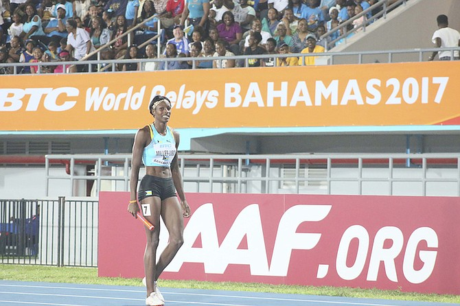 Olympic 400m champion Shaunae Miller-Uibo back on her home track at the IAAF World Relays at the Thomas A Robinson National Stadium on Saturday night. Photo: Terrel W Carey/Tribune Staff