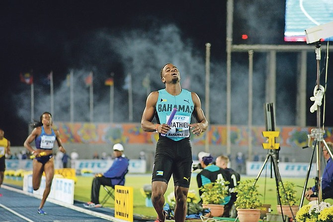 Michael Mathieu completes the anchor leg as the Bahamas wins gold in the mixed 4x400 at the IAAF World Relays in 2017.