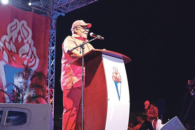 Former Prime Minister Hubert Ingraham speaks last night.