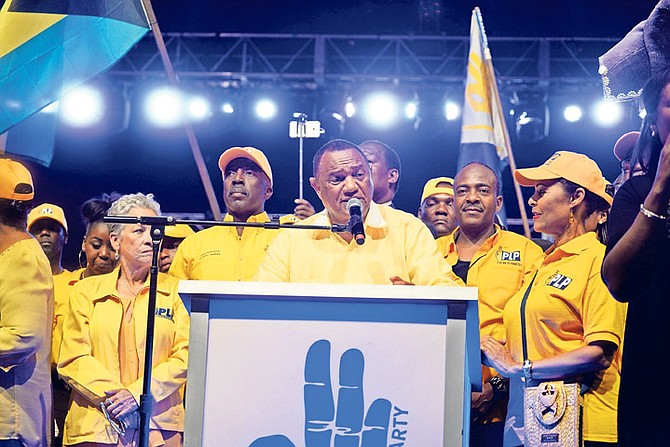 Outgoing Prime Minister Perry Christie pictured speaking at a PLP rally this week.