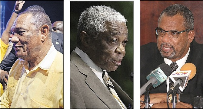 DEFEATED: Perry Christie, Dr Bernard Nottage and Jerome Fitzgerald.