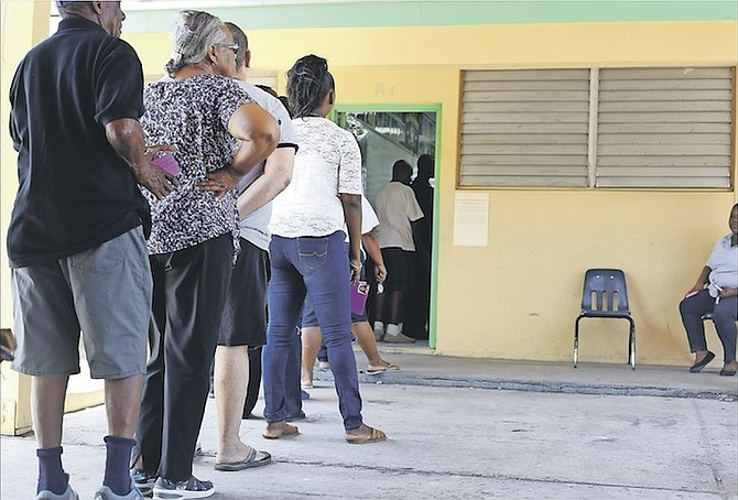 Voters queue to have their say on election day in The Bahamas. Photo: Terrel W. Carey/Tribune Staff