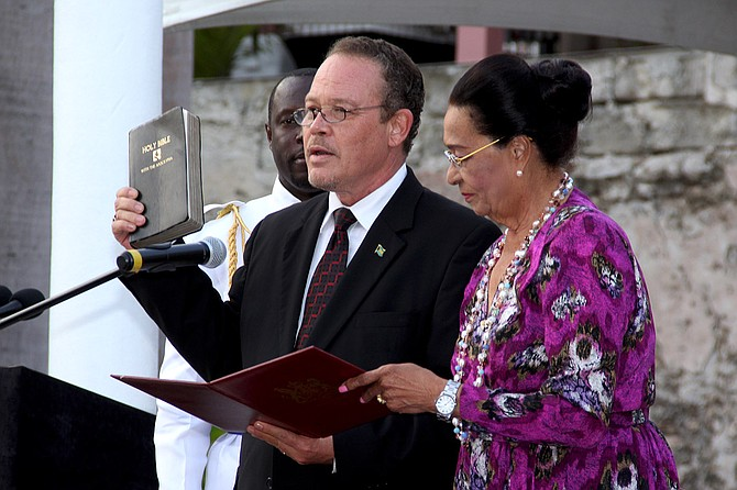 Carl Bethel, QC, was appointed Attorney General by Governor General Dame Marguerite Pindling during a brief ceremony at Government House on Friday. Mr Bethel has been named to the Senate, where he will serve as Leader of Government Business. Photo: Letisha Henderson/BIS