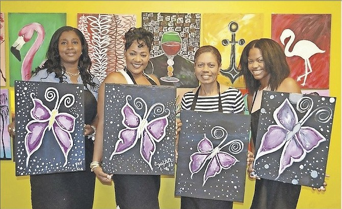 The purple butterfly was the subject chosen for last Friday's paint and sip party.