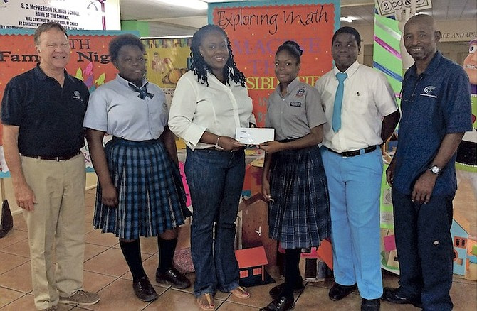Junior high school students throughout The Bahamas got a chance to participate in the Sixth Annual Mathematics Competition hosted by SC McPherson Junior High School last month. Consolidated Water Co  Ltd. (CWCO) made a donation to the school to assist in purchasing prizes, certificates and trophies for winners and participants. L-R: CWCO General Manager Bryan Russell, TA Thompson Junior High School student Skye Cooper, CWCO Administrative Assistant Welliya Cargill, SC McPherson student Krizia Smith, South Andros High School student Tristan Smith and CWCO Operations Supervisor Jeffrey Burrows. 