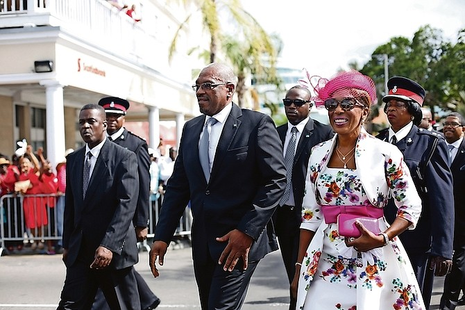 Prime Minister Dr Hubert Minnis and his wife Patricia Minnis arrive at Parliament.