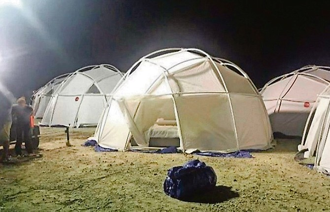 Tents at the Fyre Festival site for the event.