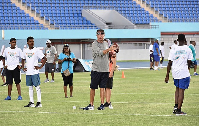 Dan Marino during the youth football clinic at the national stadium.