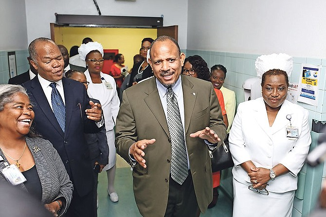 Minister of Health Dr Duane Sands tours the Princess Margaret Hospital. Photo: Terrel W. Carey/Tribune Staff