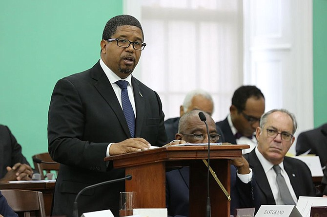 Finance Minister K Peter Turnquest speaks in Parliament.