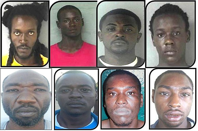 "CLOCKWISE FROM TOP LEFT - Eight men who are wanted on murder charges: 33–year-old Patrick Goffee of Washington Street is a dark brown male, slim build, about 6' 3"" tall; 25-year-old Gibson Baptiste of Golden Isle Road is a dark brown male, slim build, about 6' tall; 30-year-old Jermaine Scott of Dominica Street, Golden Gates is a dark brown male, medium build, about 6' 1"" tall; 18-year-old Julio Edwin Deveaux of Morley Street is a dark brown male, slim build, about 5' 9"" tall; 32-year-old Dwight Morrison, otherwise called ""Kitty"" of Monastery Park off Bernard Road, is a dark brown male, slim build, about 5' 9"" tall; 28-year-old Alfred George of Knowles Drive of Tonique Williams-Darling Highway is a dark brown male, slim build, about 5' 7"" to 5' 11"" tall; 31-year-old Tico Omar Lightbourne of McCartney Lane and Wilson Track is a dark brown male, medium build, about 5' 5"" to 5' 7"" tall; 42-year-old Ronald Nottage otherwise called ""Ronny"" of Sumner Street, Nassau Village is a dark brown male, medium build, about 5' 7"" to 5' 11"" tall."