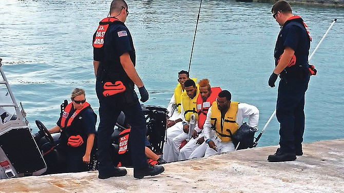 Some of the Cuban migrants detained after being spotted on Cay Sal Bank.