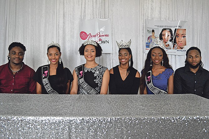 From left, pageant founder/organiser Darold Stubbs; Makel Yallop, Miss Teen Grand Bahama; Hailey Adderley, Miss Teen Grand Bahama International; Sasha Miller, Miss Teen Goodwill Ambassador; and Malik Bowe, Miss Teen Universe/Commonwealth Bahamas, and pageant founder/organiser Dominic Russell. Photo: Jade Adderley