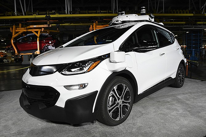 A self-driving Chevrolet Bolt EV that is in General Motors Co.'s autonomous vehicle development programme on display. (AP)