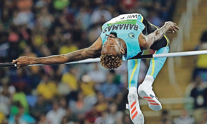 Bahamas' Jamal Wilson competes in the men's high jump qualification during the 2016 Summer Olympics in Rio de Janeiro, Brazil, on August 14.  (AP Photo/Matt Slocum)