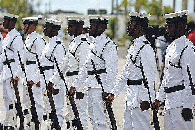 RBDF officers at a handing-over ceremony yesterday as the former Commodore of the RBDF, Roderick Bowe, gave his last remarks and the newly-appointed Commodore Tellis Bethel took the highest position of a naval officer. Photo: Terrel W. Carey/Tribune Staff