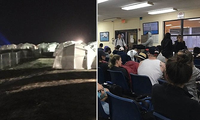 LEFT: Tents at the site of the Fyre Festival. RIGHT: Passengers stranded at the airport in Great Exuma after the event was cancelled. (Photos posted on Twitter)