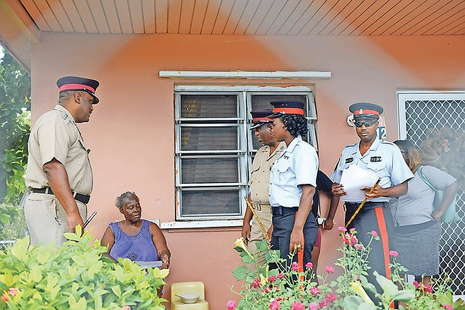 The Royal Bahamas Police Force held a walkabout in Yellow Elder to visit residents in the community.  Photo: Shawn Hanna